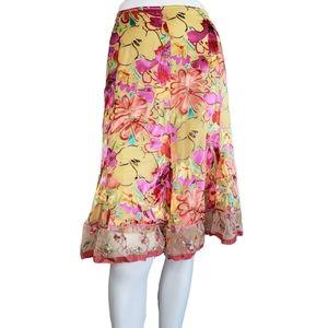 Cynthia Steffe | Floral Mesh Layered A Line Skirt